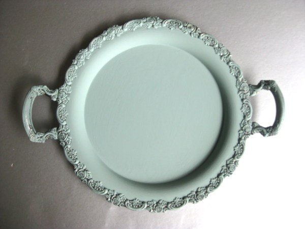 Vintage Tray Blue Silver Painted Shabby