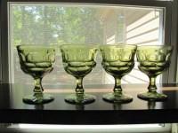 Vintage Four Avocado Green Drinking Glasses / Heavy pressed