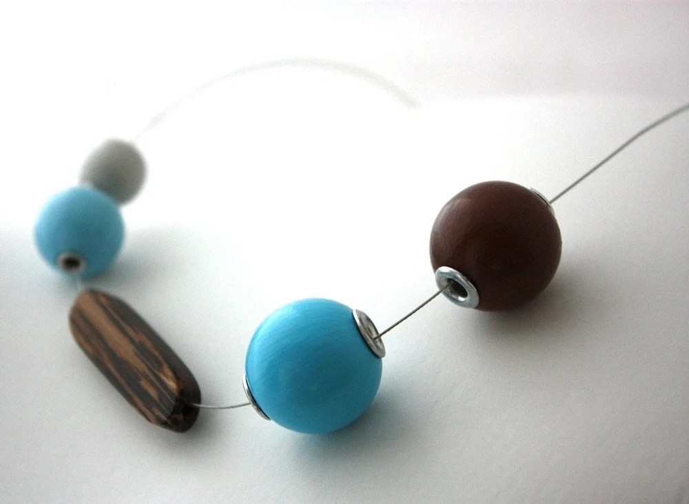 Geometric Jewelry Wooden Ball Handpainted Jewelry Aqua Blue and Beachy Brown Necklace : Sand and Surf Painted Balls Necklace - WoodenNickelsJewelry