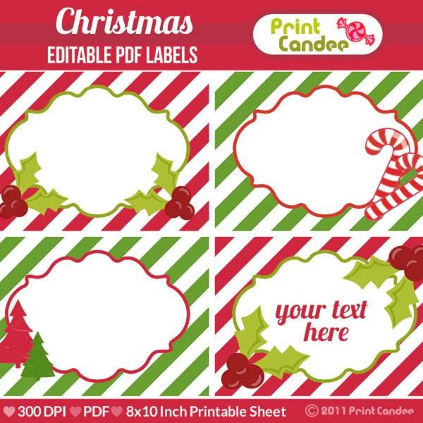 Rectangle Editable PDF 8x10 Christmas Labels No 235