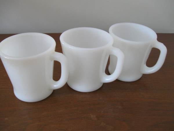 Vintage White Fire-king Coffee Mug Cups 1950s Set Of