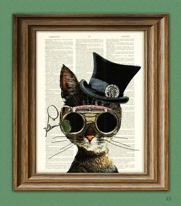 Steampunk Art Print Clockwork Kitty Cat Illustration