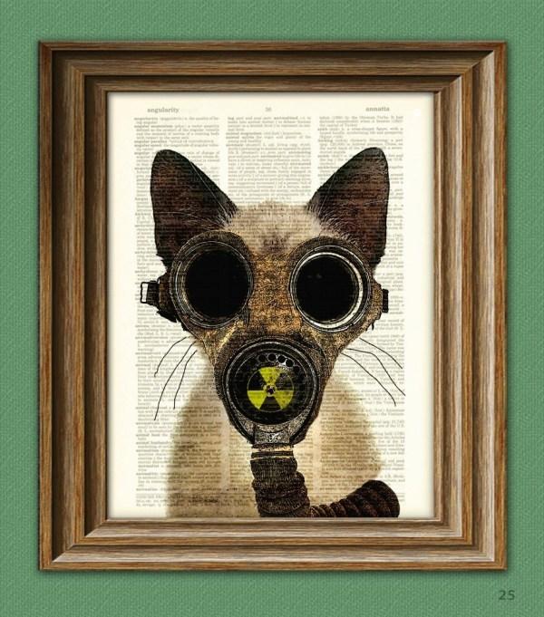 Art Steampunk Print Fallout Kitten Post Apocalyptic Gas Mask