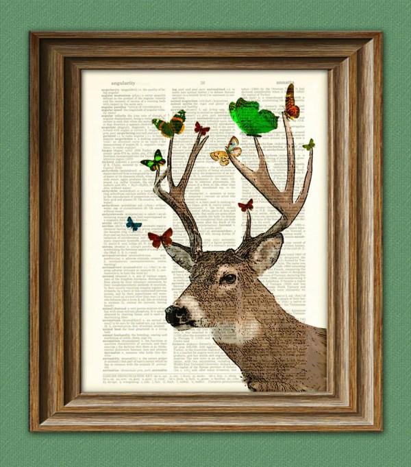 Whitetail Deer Art Print With Butterflies Illustration