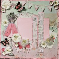 Beautiful Shabby Chic Premade Scrapbook Page Layout by