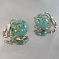 Vintage Coro Earrings Turquoise Blue Confetti Gold