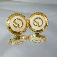 Vintage St John Earrings 22k Gold Plated and Cream by waalaa