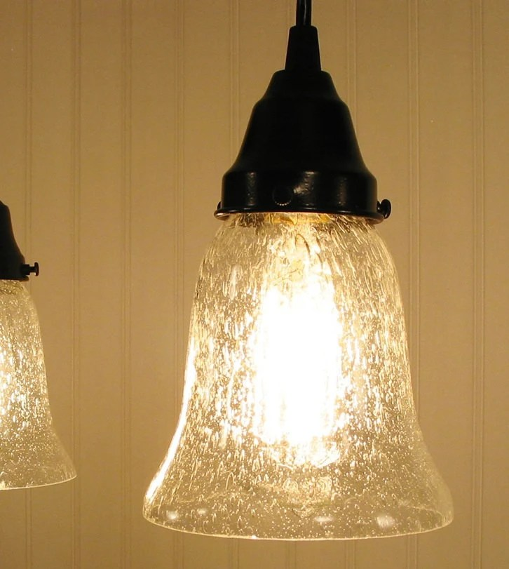Kellie II Glass Pendant Light Of Seeded Glass Chandelier