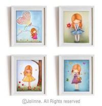 Red head girl art prints set kids wall art children room