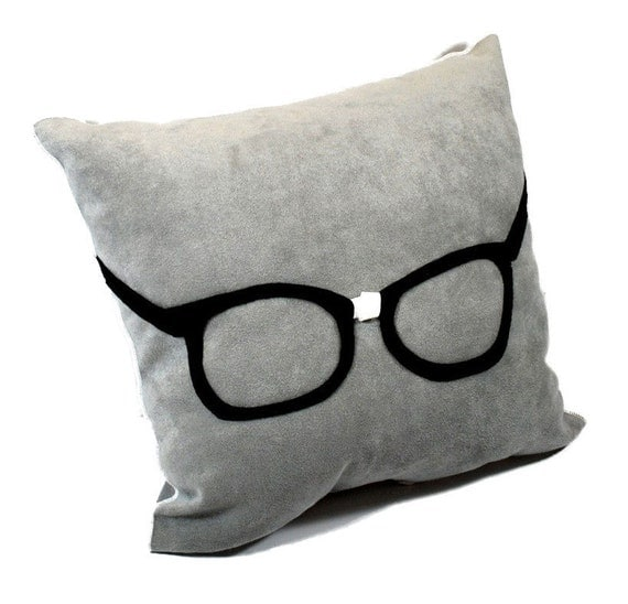 Geek Glasses on Gray Ultra Suede Pillow by YellowBugBoutique