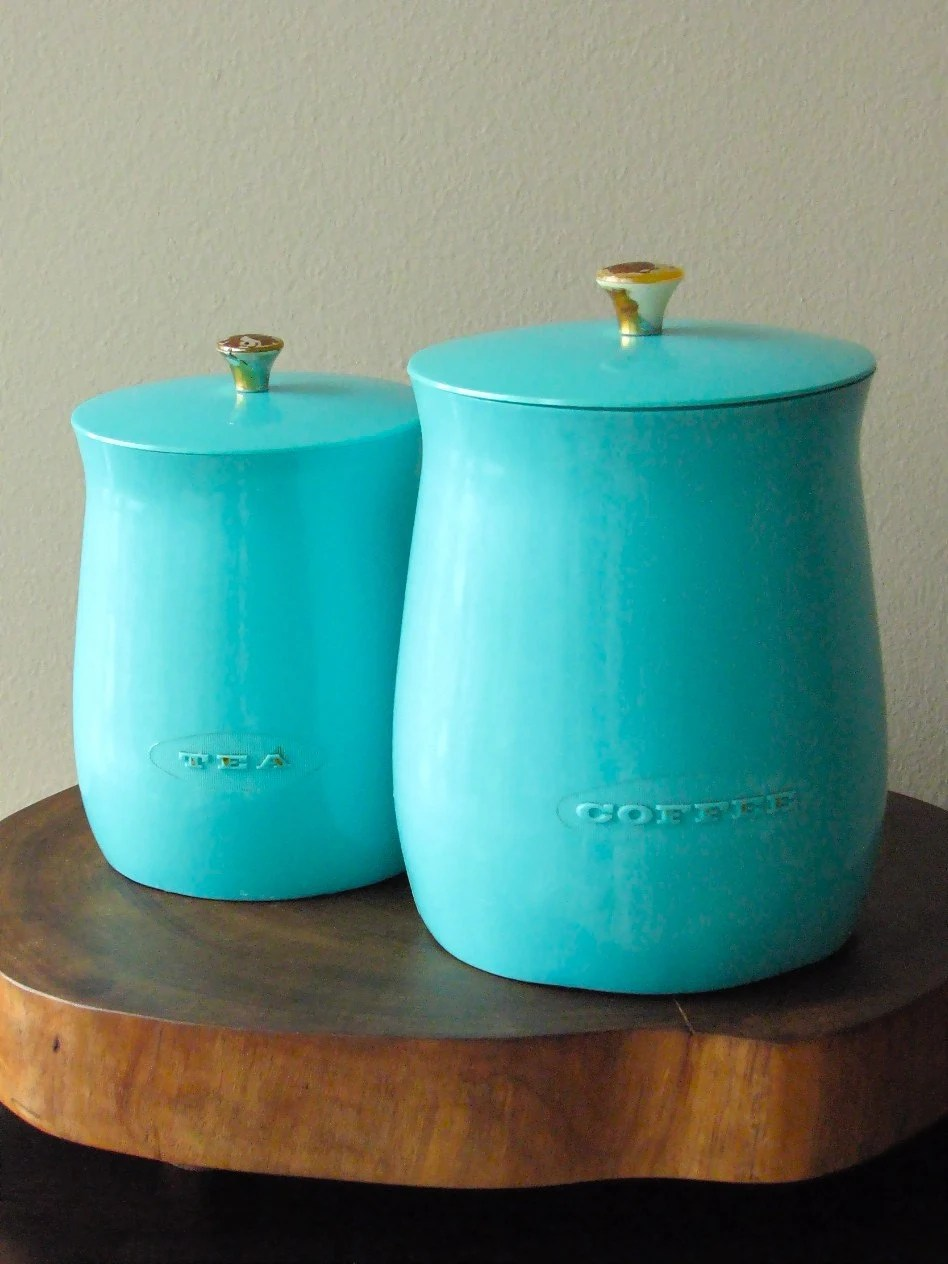 Turquoise Canisters Kitchen