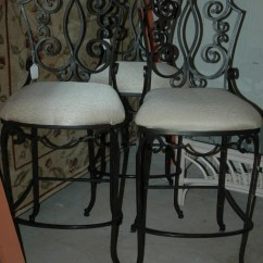 Wrought Iron Chair Cushions Pottery Barn Anywhere Insert 3 Scrolled Heavy Bar Stools Ecru Color