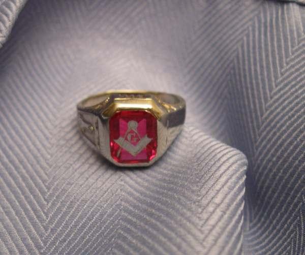 Vintage Ruby Masonic Rings - Year of Clean Water
