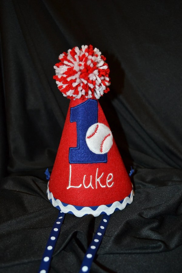 Baseball 1st Birthday Party Hat