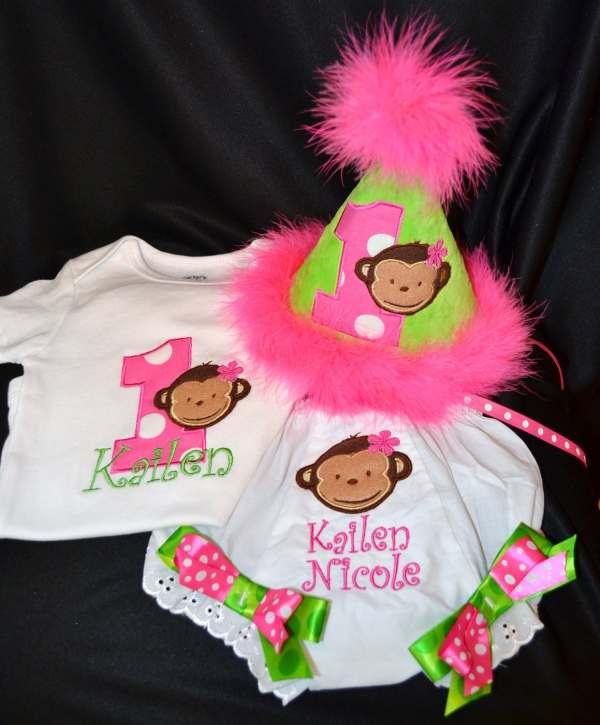 Mod Monkey Girl 1st Birthday Hat Onsie Shirt Diaper