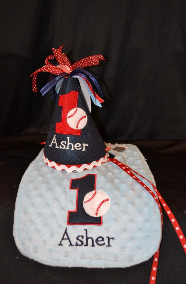 1st Birthday Hat And Bib Combo Set Baseball Theme