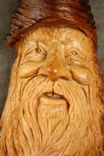 Wood log carvings year of clean water