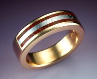 14k gold man's ring with dino bone and Gibeon meteorite