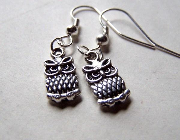Silver Owl Earrings Cute Little Girls Jewelry