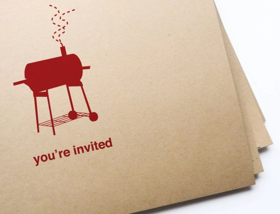 12 BBQ Invitations // free personalization and custom colors - girlingearstudio