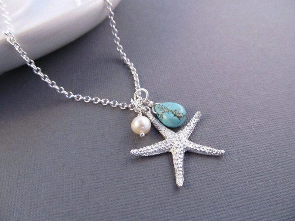 Starfish Necklace Silver Sea Star With Pearl And Turquoise