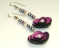 Leather Flower Earrings Purple Genuine Peacock by ELEVEN13
