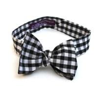 Men's Bow Tie Black Gingham Black and White Checkered