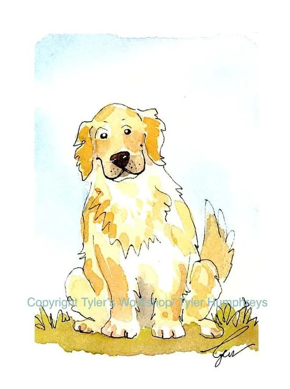 Golden Retriever Greeting Card Dog Card Golden Retriever Dog