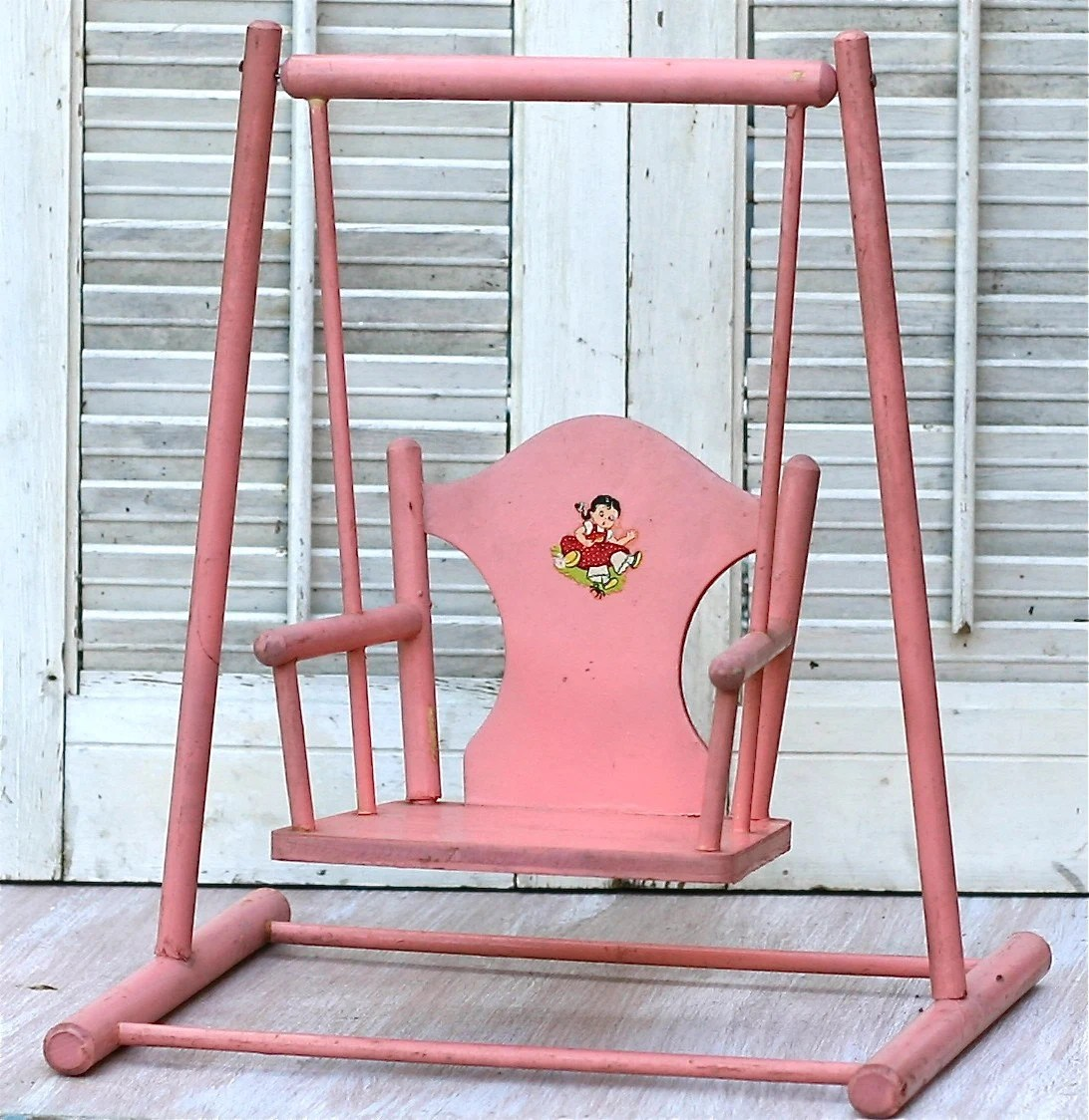baby chair swing pink eames aluminum group executive vintage wood doll by ivorybird on etsy
