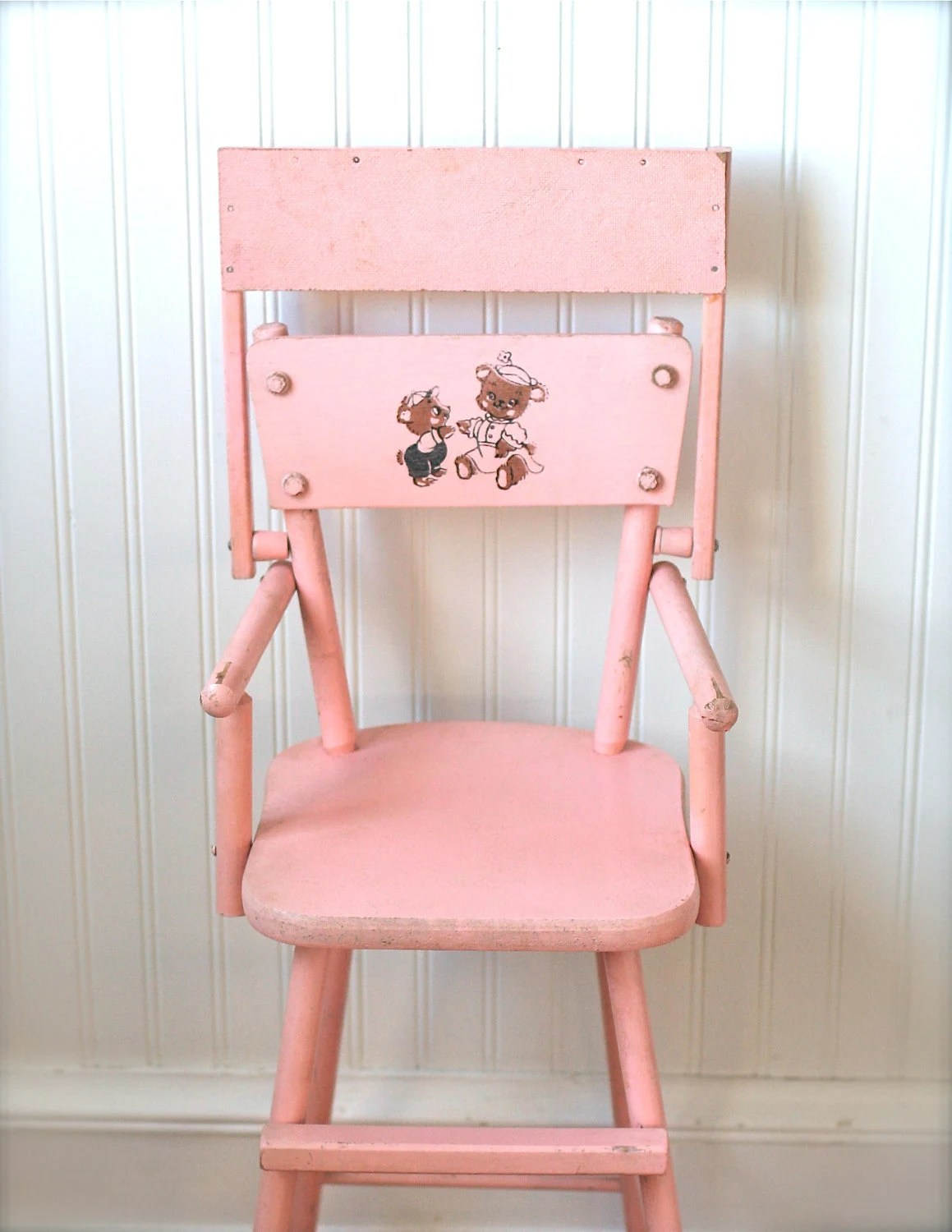pink high chairs purple velvet chair and ottoman circa 1950s wooden doll cass teddy by