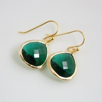 Gold Emerald Green Earrings Glass Emerald Jewelry by
