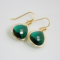 Gold Emerald Green Earrings Glass Emerald Jewelry by ...