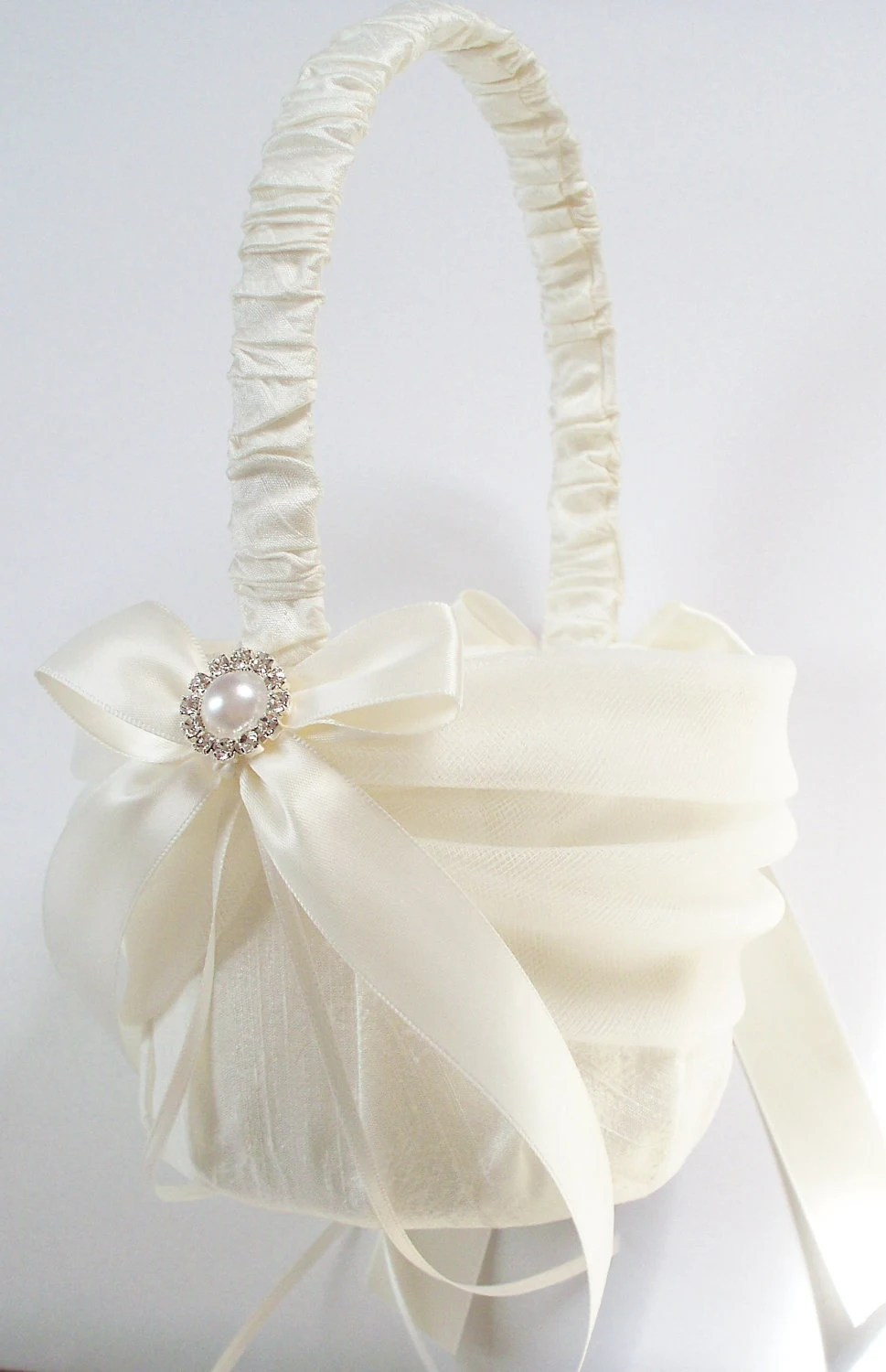 Silk Flower Girl Basket with Tulle Sash Ivory Bows Pearl and