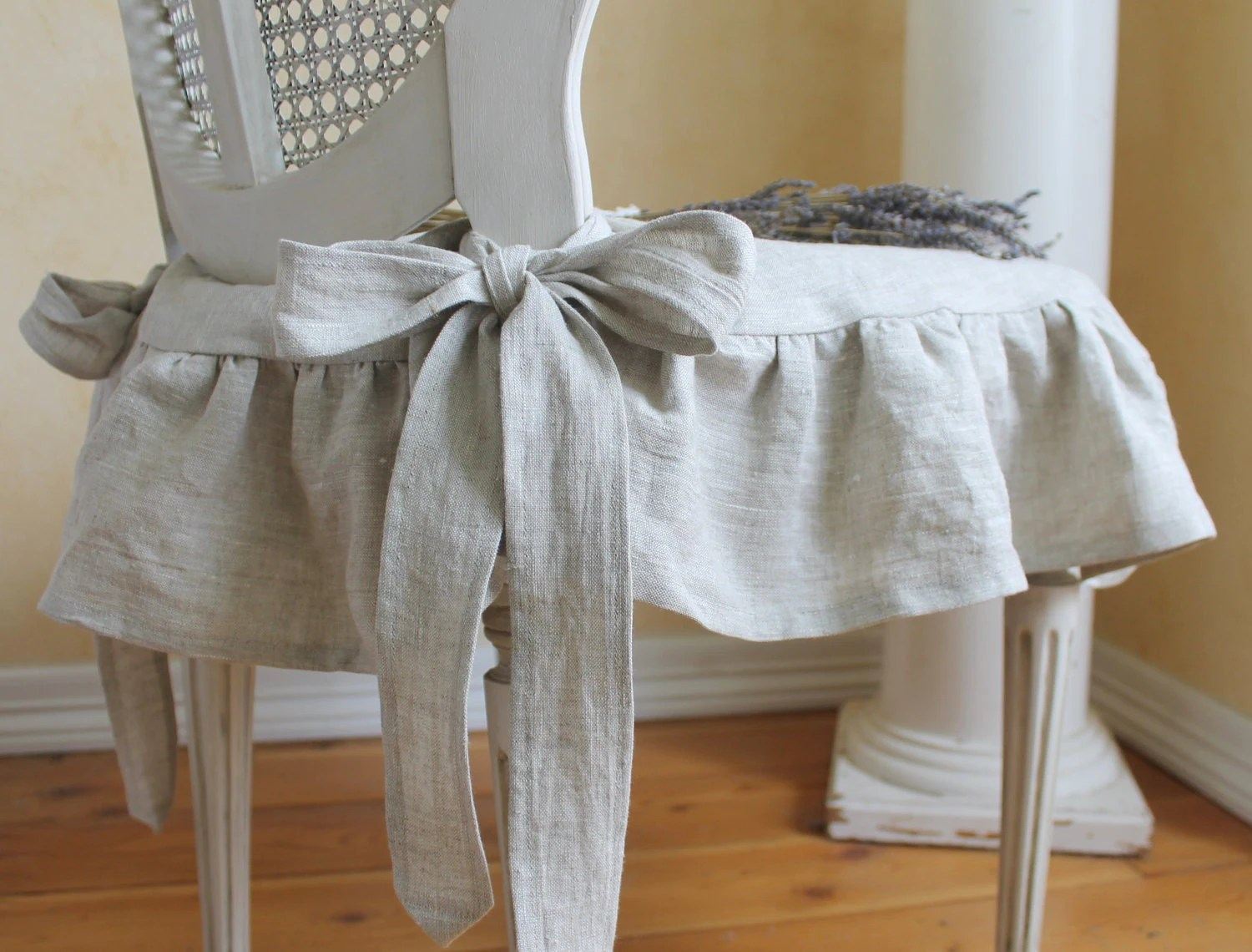 how to make kitchen chair back covers kids round the isabella ruffled linen slipcover with ballerina ties