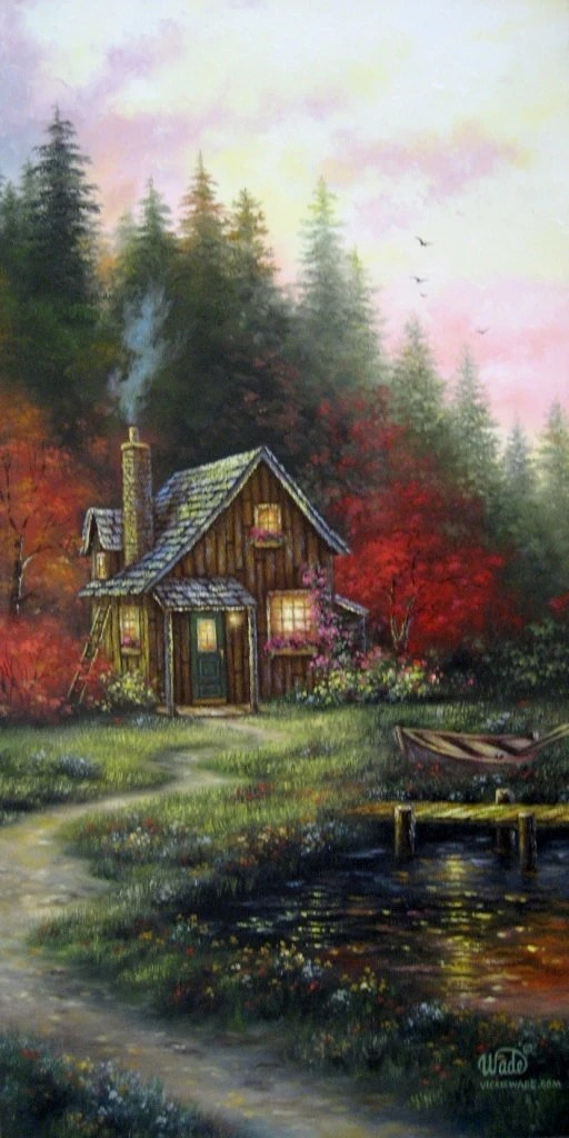 Landscape Large Oil Painting 15X30 Vickie Wade cabin