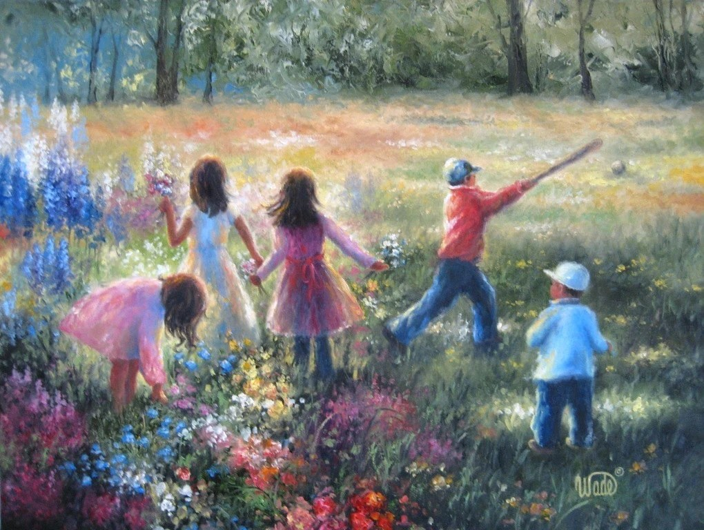 Fall Out Boy Flower Wallpaper Vickie Wade Original Oil Painting Children Playing Outdoors