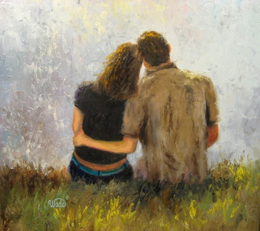 Fall In Love Couples Wallpapers Tender Love Original Oil Painting 20 X 20 By Vickiewadefineart