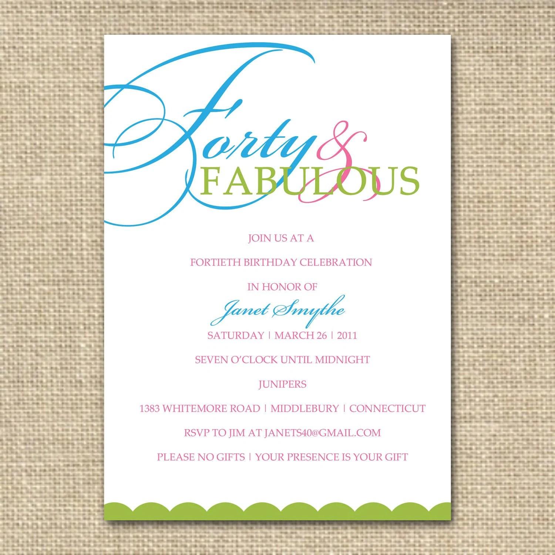 byob birthday party invitation wording