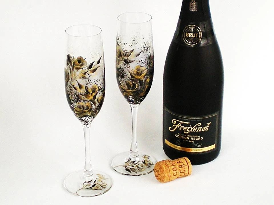 Hand Painted Wedding Crystal Champagne Flutes - Gold and Ebony Black Rose Design - 50th Anniversary New Years Toasting Glasses, Set of 2 - HandPaintedPetals