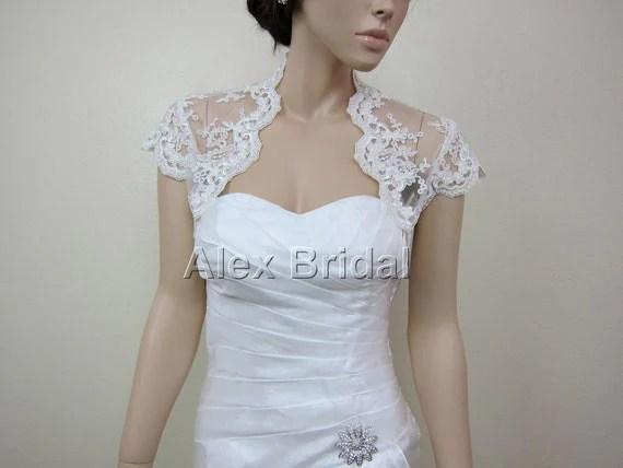 Ivory Cap Sleeve Alencon Lace Bolero Jacket Bridal Bolero