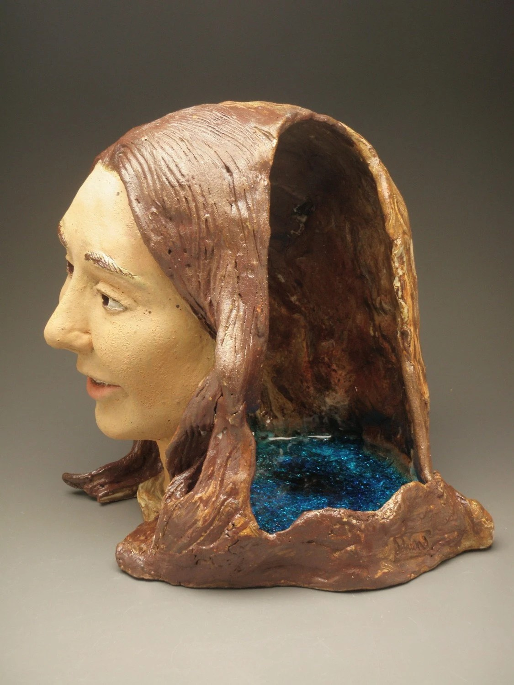 Ceramic Head Sculpture Cave Pool Portrait Of A Quiet Mind