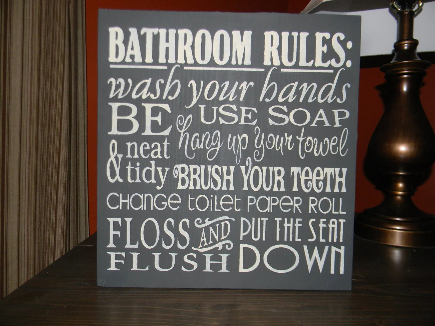 BATHROOM DecorBathroom Rules SignBlackHome by DAWNSPAINTING