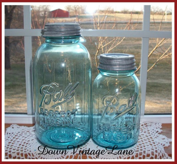 Blue Ball Mason Jars Gallon And Quart Size With Raised