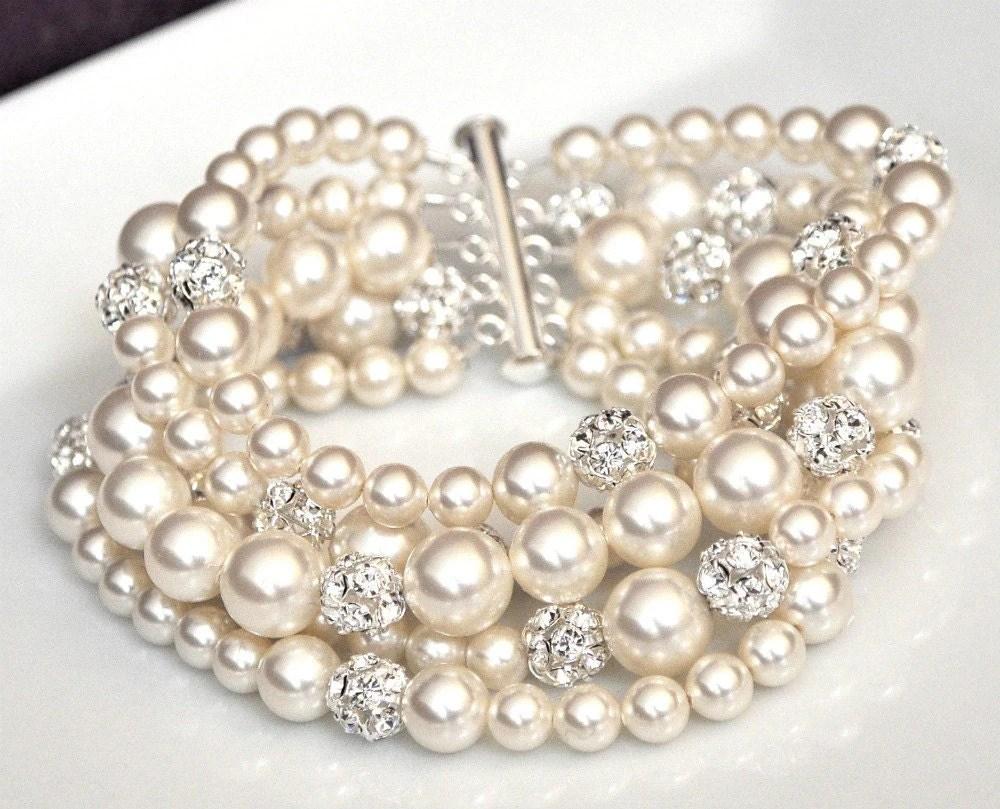 Pearl Cuff Bracelet Chunky Wedding Bracelet by somethingjeweled