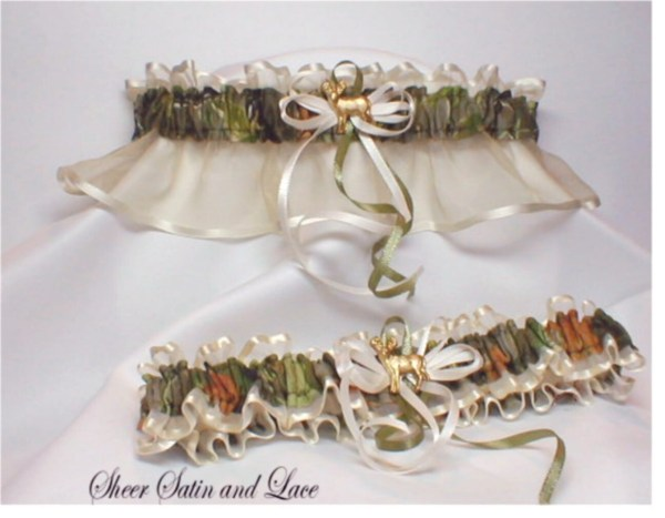 Hunting Autumn Camouflage Wedding Garters Sheersatinandlace