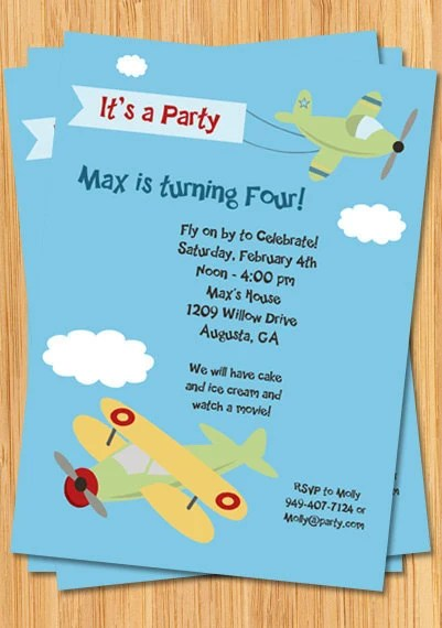 Airplane Birthday Party Invitation By Eventfulcards On Etsy