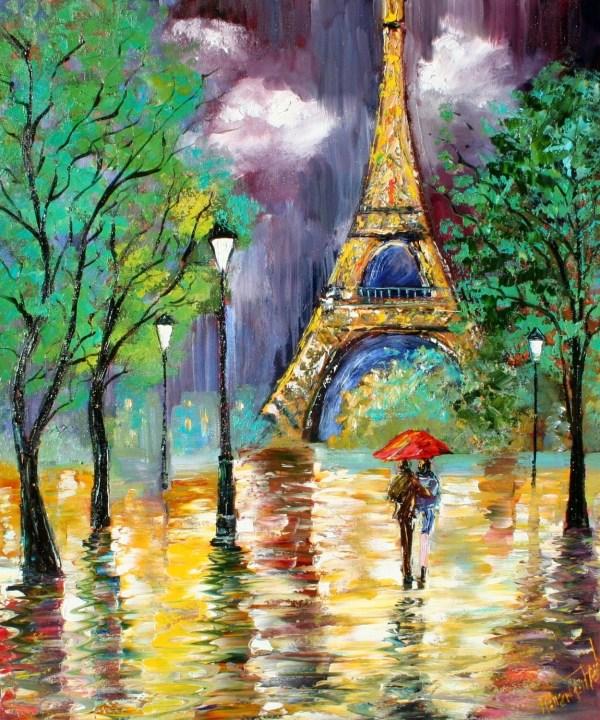 Karen Tarlton Original Oil Painting Paris Rain