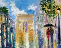 fine art print paris rainy romance