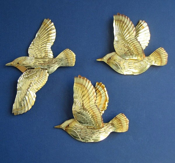 Flying Birds Vintage Wall Decor Set Of Three Metal