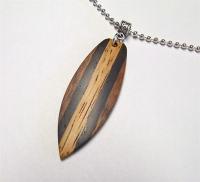 Custom Wood Necklace Handmade Mini-Surfboard Shaped Exotic